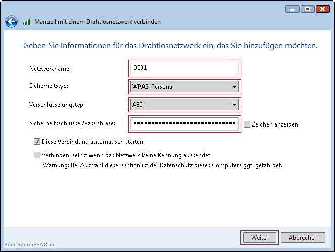Windows Vista (WLAN - manuelle Installation) 6