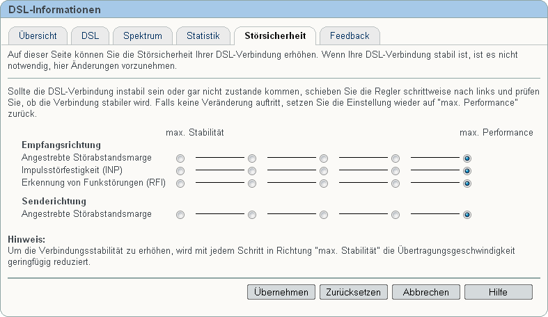DSL-Informationen - Störsicherheit